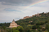 San Biagio church in Montepulciano with rainbow, Tuscany Italy
