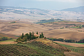 Villa Podere Belvedere in Val d'Orcia in Tuscany in autumn, Italy