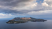 Volcano island Vulcano with dramatic clouds, Sicily Italy