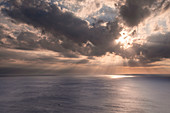Sunset with clouds over the sea on Lipari, Sicily Italy