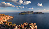 Coast of Lipari with a view of Vulcano volcanic island at day, Sicily Italy