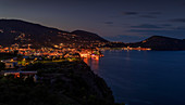 Luminous Lipari town at night, Aeolian Islands Sicily Italy