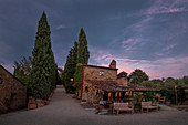 Farm of the Fattoria La Vialla in Tuscany at sunset, Italy