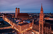 Frauenkirche, town hall, Marienplatz and Kaufingerstrasse of the city of Munich from above at night