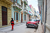 Street scene in Havana, with vehicle licence plate altered and logo removed, Havana, Cuba, West Indies, Caribbean, Central America