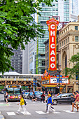 View of The Chicago Theatre and traffic on North State Street, Chicago, Illinois, United States of America, North America