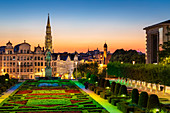 Cityscape at sunset, Mont des Arts Floodlit Garden, Brussels, Belgium, Europe