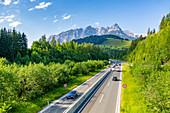 View of Fritzerkogel and autobahn near Nischofshofen, Upper Austria region of the Alps, Salzburg, Austria, Europe