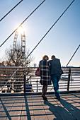 South Bank street scene at Golden Jubilee Bridge, Southwark, London, England, United Kingdom, Europe