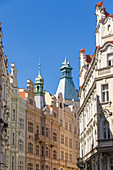 Facades of Art Nouveau buildings in the Josefov quarter in the old town, UNESCO World Heritage Site, Prague, Bohemia, Czech Republic, Europe