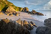 Deserted beach at Lee Bay, North Devon, England, United Kingdom, Europe