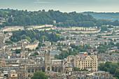 Aerial vista over Bath from Alexandra Park, Bath, Somerset, England, United Kingdom, Europe