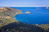 Aerial by drone of Cap Formentor Mallorca, Balearic Islands, Spain, Mediterranean, Europe