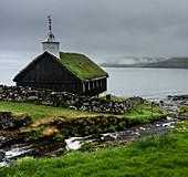 Funnings Kirkja Church, Eysturoy, Faroe Islands, Denmark, Atlantic, Europe