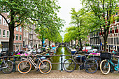 Bicycles on a bridge, Bloemgracht Canal, Amsterdam, North Holland, The Netherlands, Europe