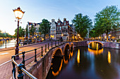 Keizergracht Canal at dusk, Amsterdam, North Holland, The Netherlands, Europe