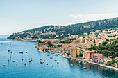 Elevated view over Villefranche sur Mer, Alpes Maritimes, Provence Alpes Cote d'Azur, French Riviera, France, Mediterranean, Europe