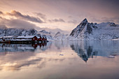 Hamnoy fishing village in winter, Hamnoy, Lofoten Islands, Nordland, Arctic, Norway, Europe