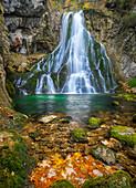 Gollinger waterfall in autumn, Tennengau, Austria