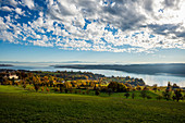View over Lake Constance in autumn, in front Spetzgart Castle, in the back Alpine chain, near Überlingen, Lake Constance, Baden-Württemberg, Germany