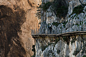 The Caminito del Rey is a three kilometer long via ferrata over the Gaitanejo Gorge and up to 100 meters above the Guadalhorce River.