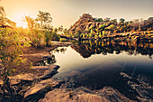 Sunrise at Bell Gorge with the waterfall in the Kimberley region in Western Australia, Australia, Oceania