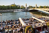France, Paris, area listed as World Heritage by UNESCO, the New Berges, bar