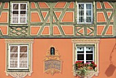 France, Haut Rhin, route des Vins d'Alsace, Colmar, facade of a half timbered house in trompe l'oeil on Place de l'Ancienne Douane (former custom square)