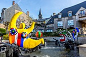 France, Nievre, Chateau Chinon, town hall square, fountain by Jean Tinguely and Niki de St Phalle commissioned by François Mitterrand, Parc Naturel Regional du Morvan (Morvan Natural Regional Park)
