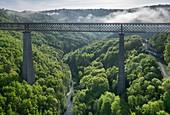 France, Puy de Dome, Les Ancizes Comps, Fades viaduct, railway bridge over the Sioule (aerial view)