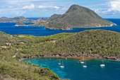 France, Guadeloupe (French West Indies), Les Saintes archipelago, Terre de Bas, panoramic view over Terre de Haut and Grande Baie on the foreground