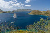 France, Guadeloupe (French West Indies), Les Saintes archipelago, Terre de Haut, the Royal Clipper, a steel hulled five masted ship used as a cruise ship, in Les Saintes bay, the third most beautiful bay in the world