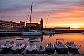 France, Pyrenees Orientales, Cote Vermeille, Collioure, sunrise, the marina and Notre Dame des Anges church