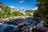 France, Lozere, the Causses and the Cevennes, Mediterranean agro pastoral cultural landscape, listed as World Heritage by UNESCO, Cevennes National Park (Parc National des Cevennes), listed as Biosphere Reserve by UNESCO, Pont de Montvert point starting the war Camisards, Tarn Valley