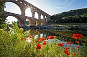 France, Gard, the Pont du Gard listed as World Heritage by UNESCO, Big Site of France, Roman aqueduct from the 1st century which steps over the Gardon