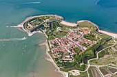 France, Charente Maritime, Aix island, the town and la Rade fort (aerial view)