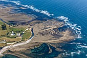 France, Charente Maritime, Saint Denis d'Oleron, Chassiron lighthouse and fishing traps (aerial view)