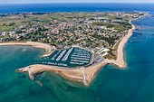 France, Charente Maritime, Saint Denis d'Oleron, the marina and the village (aerial view)