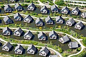 France, Vendee, Les Epesses, Le Puy du Fou historical theme park, Clovis island hotel (aerial view)
