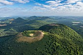 France, Puy de Dome, area listed as World Heritage by UNESCO, Orcines, Chaine des Puys, Regional Natural Park of the Auvergne Volcanoes, the Puy des Goules volcano (aerial view)