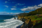View of a lonely house on the wild Pacific coast near Carmel-By-The-Sea, California, USA