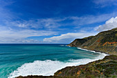 Hilly landscape and Pacific coast on Highway No. 1 near Lucia, California, USA