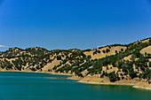 Lake Hennessy, a lake with rolling hills near Santa Rosa, California, USA