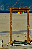 Photo frames for tourist photos on Venice Beach, California, USA