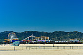 View of the beach and Pacific Park on Santa Monica Pier, California, USA