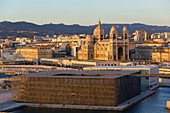 France, Bouches du Rhone, Marseille, Euromediterranee area, La Joliette district, MuCEM, Museum of Civilizations of Europe and the Mediterranean, R. and R. Carta Ricciotti architects, Vaults and The Cathedral Major (nineteenth century) historical monument