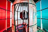 Frankreich, Gironde, Le Verdon sur Mer, die Laterne in dem Leuchtturm von Cordouan, als historisches Monument eingestufte Bedeckungssystem