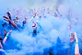 France, Morbihan, Lorient, atmosphere during Color me rad , five kilometers running with projection of colors