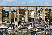 France, Finistere, Morlaix, City center, Sainte Melaine church and viaduct
