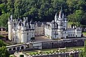 France, Indre et Loire, Loire valley listed as World Heritage by UNESCO, Rigny Usse, castle of Usse which has inspired the french author Charles Perrault for Sleeping beauty (aerial view)